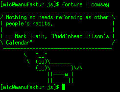 console output of fortune | cowsay